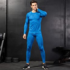 Men's Gym Workout Tights,Compression Set Sport Breathable Quick Dry Comfortable Fitness Suit Long Sleeve Shirt + Long Pants by Leoie