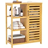 Homykic Bathroom Storage Cabinet, Bamboo Floor Free Standing Organizer Sturdy with 1 Cupboard & 3 Open Shelves Console Table