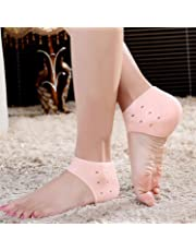 AFIYA Silicone Gel Heel Socks for Swelling and Pain Relief, Cushion Support, Foot Care, Ankle Protection for Men and Women (Free Size, Skin) - 1 Pair
