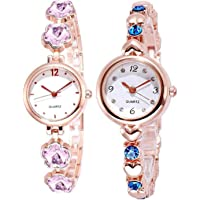 LEVERET Anlogue White Shiny Dial Black & Rose nGold Combination Bangle Colour Women Watch & Girls Watches Combos Pack of 2