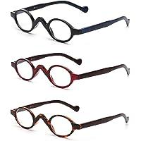 JM 3 Pack Piccoli Occhiali da Lettura Ovali Cerniera a Molla Vintage per Lettori Donna Uomo +0.5 Nero & Rosso…