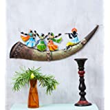 Collectible India Metal Wall Hanging Trumpet Dancing Lady Wall Mounted Hanging Art Sculpture Modern Arts Home Office Restaura
