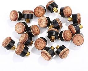 Lvcky 20Stück Schraube auf Tipps 10mm Queue Tipps mit Kunststoff Aufbewahrungsbox für Pool Queues und Snooker, braun