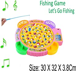 Karp Kid's Colorful Electronic Musical Rotating Toy with 45 Fish 4 Fishing Rods Standard (Fishing Plate Game - Yellow)