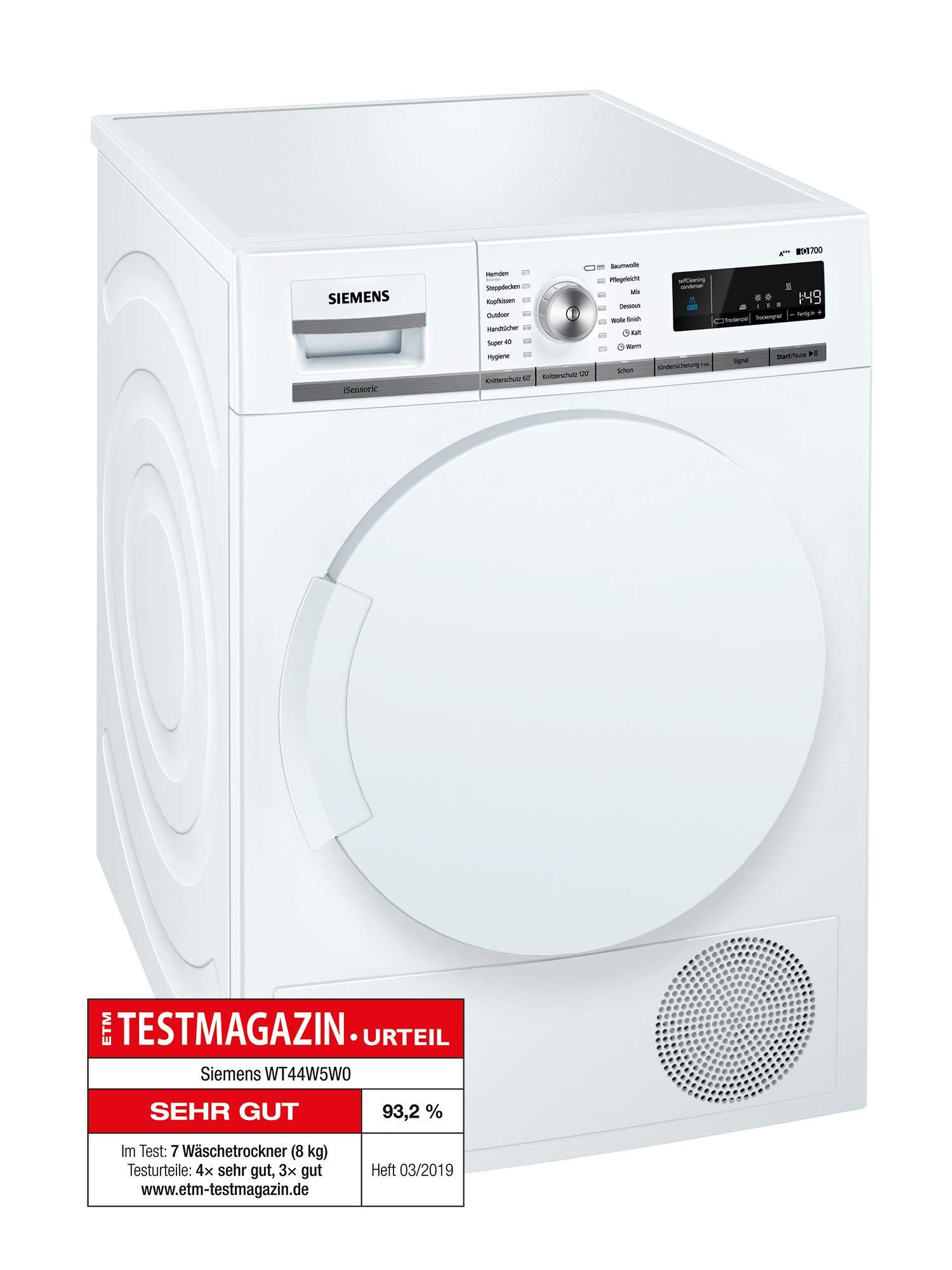 Siemens WT44W5W0 iQ700 iSensoric Premium Wärmepumpentrockner, 8 kg, weiß