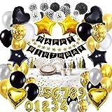 Bea's Party Verjaardag decoratie wit zwart en goud volwassen man vrouw banner gelukkige verjaardag banner placemat servetten
