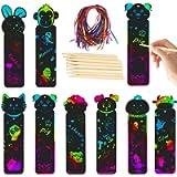 Segnalibro, Segnalibro Scratch, Animali, con 48 Corde Colorate e 24 Penna in Legno, per Feste, Feste a Tema Giungla…