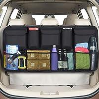 URAQT Car Boot Organiser Waterproof Kick Mats Car Organiser Seat Back Protectors, Multi-Pocket Children's Travel Storage, Durable Foldable Cargo Net Storage for Car Backseat Cover (Large)