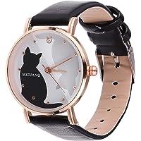 UKCOCO Women Watches Cartoon Lovely Cat Pattern Wrist Watch Leather Quartz Watch for Women Ladies Girls