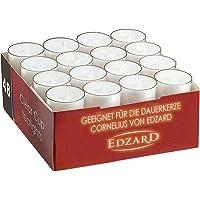 EDZARD 48 pièces de bougies chauffe-plat, blanc, boîtier transparent, durée de combustion environ 8 h, ø 39 mm, parfait…