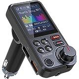 """Nulaxy Trasmettitore Bluetooth per auto, adattatore per autoradio Bluetooth con schermo a colori da 1,8""""con microfono potente"""