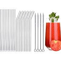 Pailles en verre,Paille transparente,Type 16 pièces pailles réutilisables avec 4 brosses de nettoyage, respectueux de l…