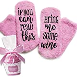 Süße Luxus Wein Socken! If You can read this bring me some wine - Lustige Cupcake Socken Geschenk für Frauen - Für Weinliebhaber, Geburtstags-geschenk für Frauen, Wein-Zubehör