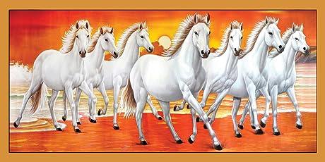 Graphics World vastu Poster White 7 Horse Running Painting vinayl Sticker Poster(36 x 18 inch)
