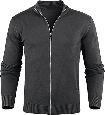 iClosam Cardigan da Uomo Casual Slim Leggero Maglione Maglia Waffle Sweater Pullover Giacca Coat con Zip Invernale