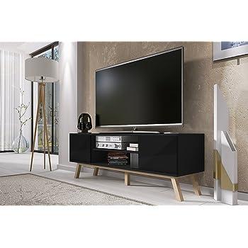 Vero Bois Meuble Tv Moderne 150 Cm Corpus Noir Mat Front Noir