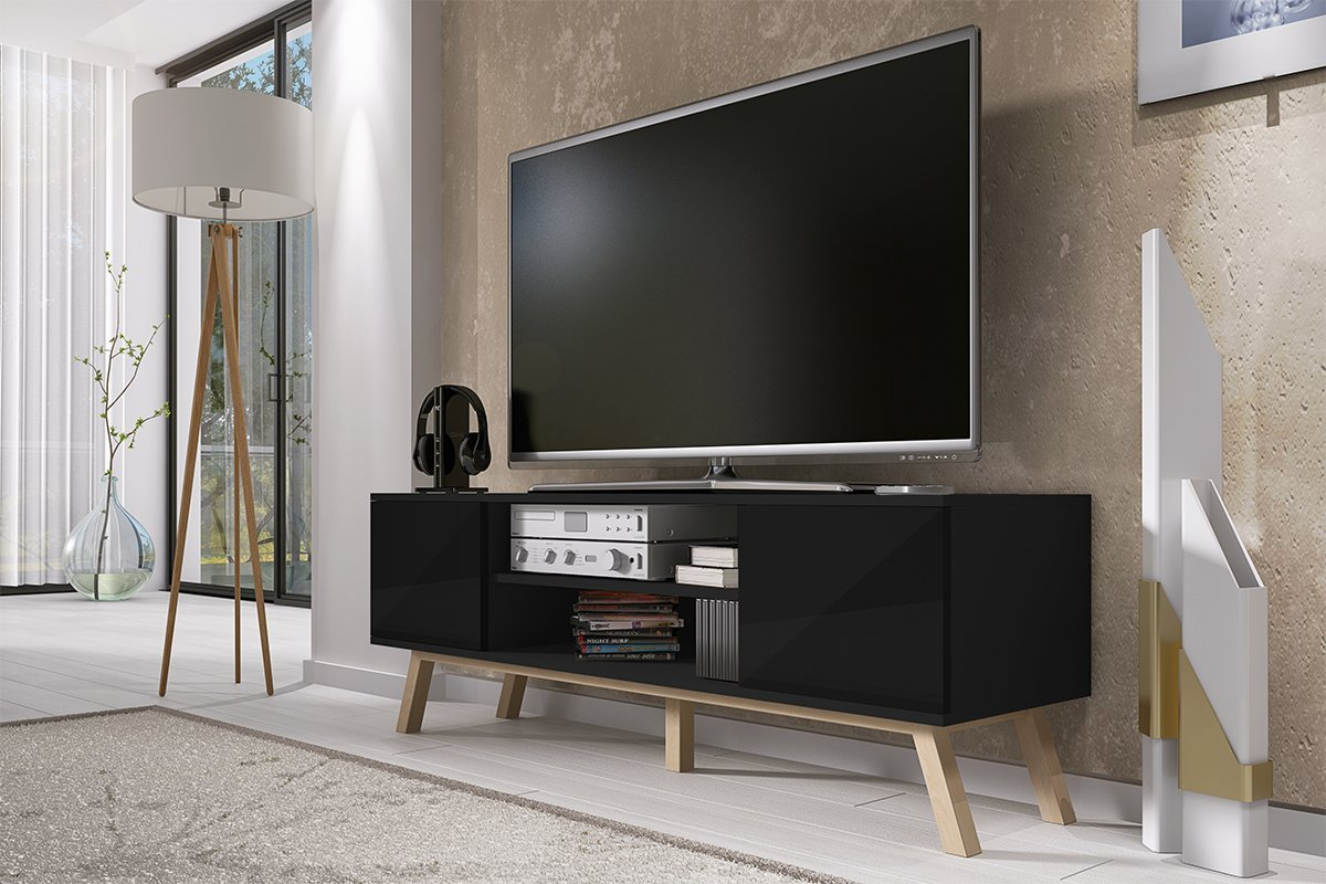 Vero Bois Meuble Tv Moderne 150 Cm Corpus Noir Mat Front  # Meuble Tv Vero