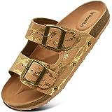 KuaiLu Sandals Womens Leather Open Toe Summer Ladies Cork Sandals Suede Strap Wide Fit Sliders Adjustable Buckle Slides Slipp