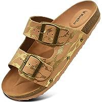 KuaiLu Sandals Womens Leather Open Toe Summer Ladies Cork Sandals Suede Strap Wide Fit Sliders Adjustable Buckle Slides…