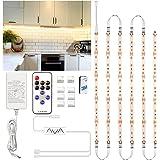Ruban LED Blanc Chaud 3m, Enteenly Bande LED 12V Cuisine avec Télécommande et Prise, Kit D'éclairage à Intensité Variable sou