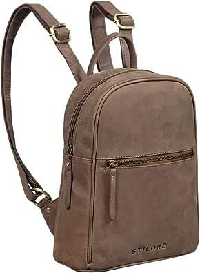 STILORD 'Scarlett' Vintage Rucksack Damen Klein Leder Rucksackhandtasche Lederrucksack für iPad & 10.1 Zoll Tablet Handtasche City Ausgehen Shopping Daypack