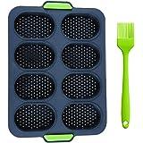 Gxhong Mini moule à baguette, moule à pain, moule à pain en silicone anti-adhésif pour 8 petits pains, pain Crisping Tray, mo