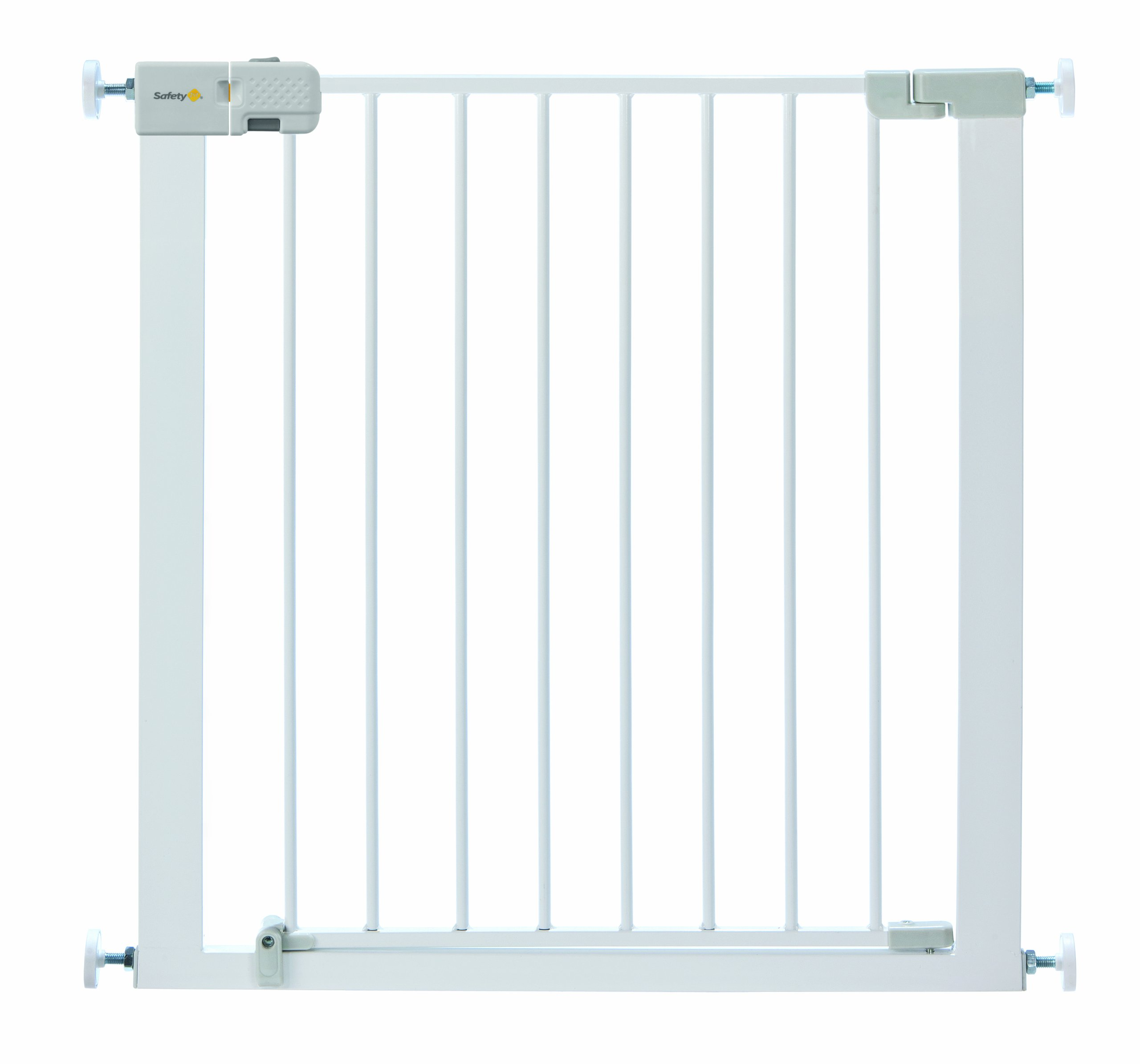 Safety 1st Simply Close Pressure Fit Metal Gate, White Safety 1st Adjusts to fit openings from 73 cm to 80 cm Extends up to 136 cm with separately available extensions Strong steel frame with four-point pressure fit 1