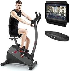 Sportstech Ergometer ESX500 mit Smartphone App Steuerung und Google Street View Lauf, 5,5 Zoll Display, 12KG Schwungmasse, Pulsgurt Inklusive, Fitness Bike Heimtrainer mit Riemenantrieb