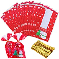 Faburo 100pcs Christmas Cellophane Bags Wrapping Bags for Candy Cookie Small Gifts with 100pcs Twist Ties