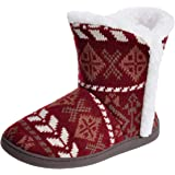 Women's Knit Bootie Slippers Memory Foam House Slippers with Plush Lining Slip-on Shoes