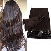 20cm Extension Clip Capelli Veri 100% Remy Human Hair 8 Fasce Lisci Lunghi Umani Naturali Donna Bellezza, 45g 2# Marrone…