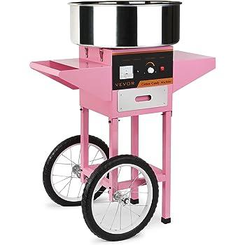 BuoQua Zuckerwattemaschine Zucker Rosa Profi Edelstahl Zuckerwatte Maschine für Zuhause 1000W Elektrische Zuckerwattegerät mit Wagen