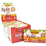Xylitol Goma de mascar fruta, chicles dentales, 100% sin azúcar, caja de 24 blisters (12 piezas por blister), sin aspartamo,