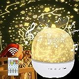 URAQT Lámpara Proyector Estrellas, Proyector Bebe, 360° Rotación Músic Lampara con Control Remoto, Romántica Luz de La Noche