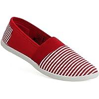 A&H Footwear Womens Ladies Canvas Stripe Slip On Summer Casual Flat Espadrilles Pumps Shoes UK 3-8