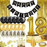 Humairc Décoration Anniversaire 18 ans Garcon Or Noir, Ballon Anniversaire Fille, 102cm Ballon Chiffre 18, Banderole Joyeux A