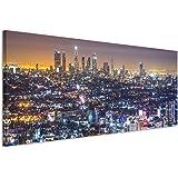 150 x 50 cm canvasafbeelding op spieraam Los Angeles Skyline nachtlichten wandafbeelding op doek als panorama