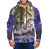 Watcher Howling Wolves Full Moon Men's 3D Hoodie Full Zip Graphic Sweatshirts Pullover Casual Pocket Jacket