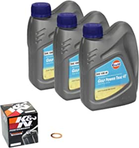 Gulf Power Trac 10w 40 Oil Change Kit Suzuki Bandit 400 Gsf 400 91 95 Engine Oil K N Oil Filter And Sealing Ring Auto