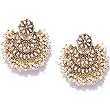 Zaveri Pearls Gold Tone Traditional Pearls Beaded Dangle Earring For Women-ZPFK7289