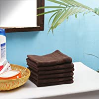 Fresh From Loom Ring Spun Cotton; Super Soft; Highly Absorbent; 6 Multipurpose Towel Set, Wash Clothes; Face Towels; Gym or Sports Towel Size 13 X 13 Inch; Brown
