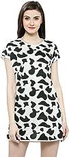 N-Gal Animal Cow Print White Short Sleeves Sleep Shirts Loungewear Sleep Tee Nightwear