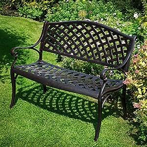 panchina da giardino jasmine in alluminio effetto ferro