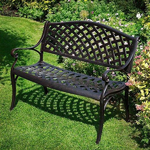 Gartenbank: Lazy Susan – JASMINE Gartenbank aus Aluminium – Antik Bronze