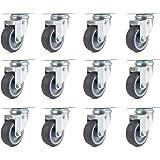 Lot de 12 Roulettes Pivotantes 50mm Roues en Transport Roulettes de meubles