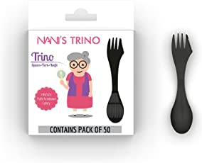 NANI Thermoplastic Spoon, Fork and Knife Trino Set (Black, Small Size) - Pack of 50
