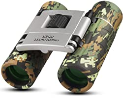 Binoculars for Kids Adults,10x22 High-Resolution Real Optics Mini Compact Binocular Shockproof Folding Telescope for Outdoor