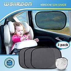 Wsiiroon Sonnenschutz Auto Baby (3 Stück) - Selbsthaftende Universal Sonnenblende, Auto-Sonnenschutz vor schädlichen UV-Strahlen mit Aufbewahrungstasche (Schwarz)