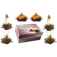 Creano 6 fiori di tè tè fiorito in una nobile confezione regalo da provare - Tè nero (3 diversi tipi di rose da tè)