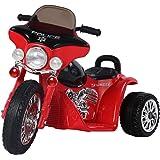 HOMCOM Elektro Kindermotorrad Elektromotorrad Kinderelektroauto Kinderfahrzeug Dreirad, 6V, Metall+PP, Rot+Schwarz, 80x43x54,5cm
